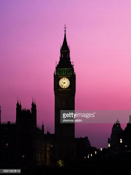 big ben and the iconic london landmark at twilight - clock tower stock pictures, royalty-free photos & images