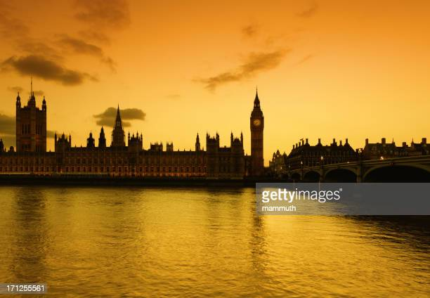 Big Ben and the Parliament in London at dusk