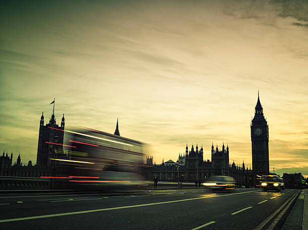 Big Ben And Traffic During Sunset Wall Art
