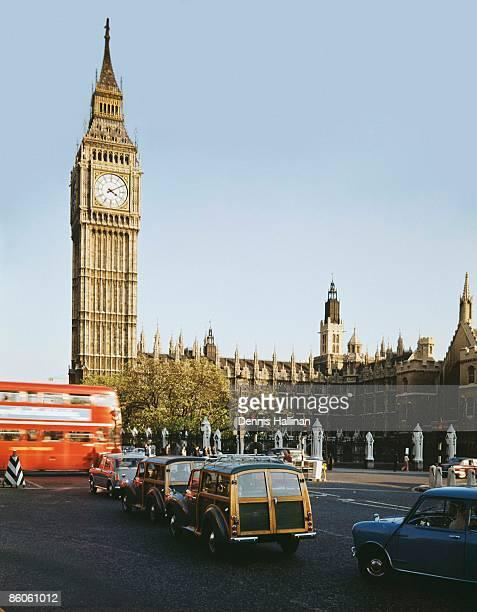 Big Ben and vintage cars, Westminster, London, England