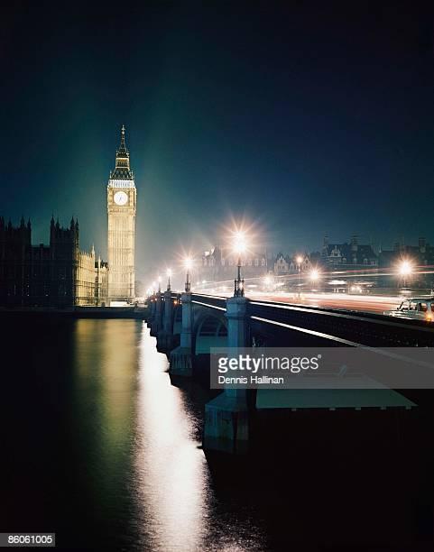 Big Ben and Westminster Bridge at night, London, England
