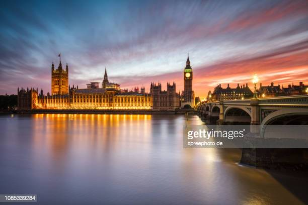 big ben and westminster bridge in london - houses of parliament london stock pictures, royalty-free photos & images