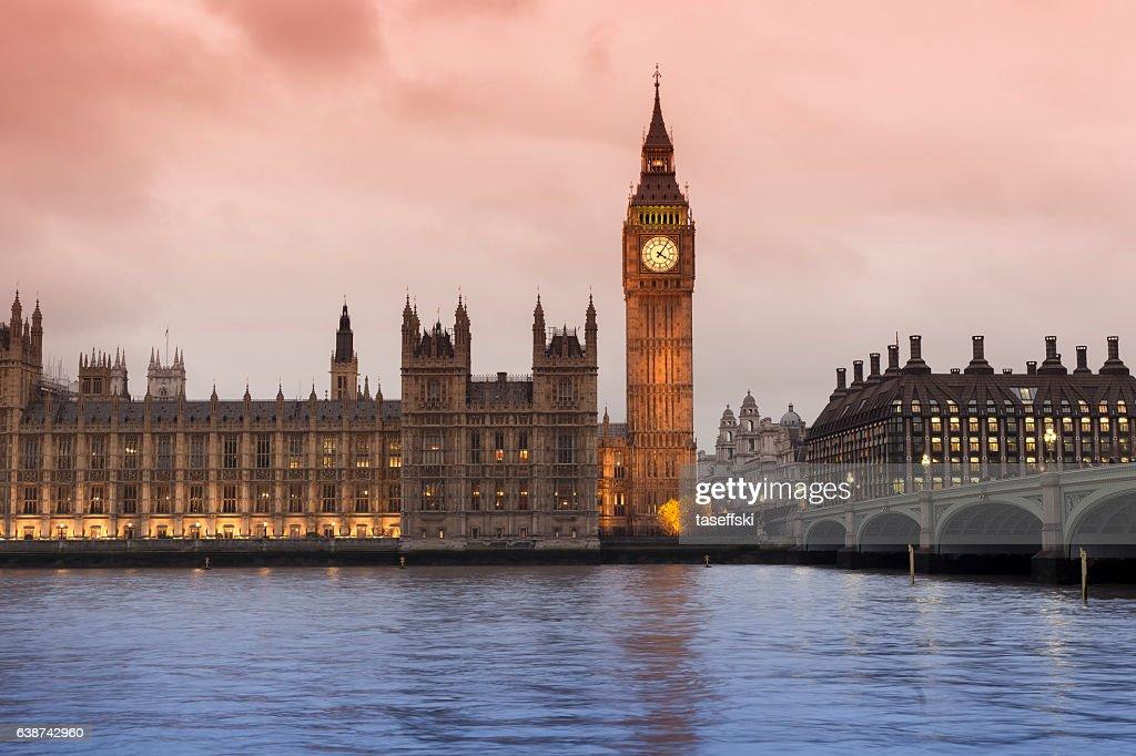 Big Ben and Westminster Bridge in London : Stock Photo