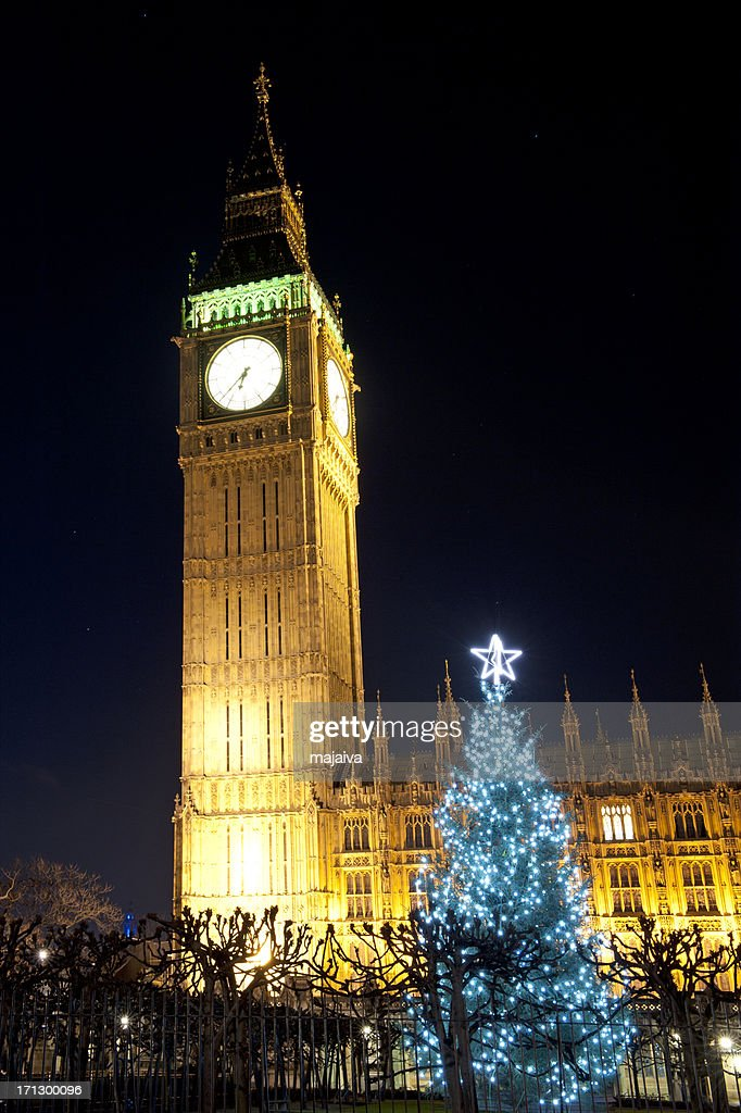 Big Ben and Westminster Palace in London x-mass night shoot : Stock Photo