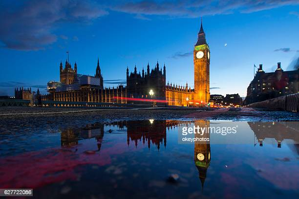 big ben at dusk - houses of parliament london stock photos and pictures
