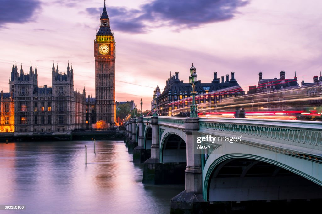 Big Ben at night with car light trails : Stock Photo