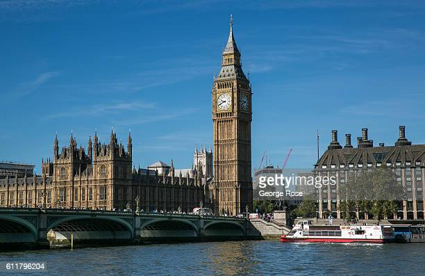 Big Ben clock tower located at the Palace of Westminster and Parliament complex is viewed from the London Eye on September 11 in London England The...