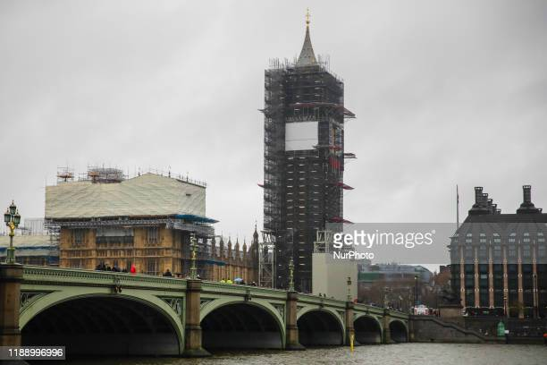 Big Ben during renovation in London, Great Britain on December 12, 2019.
