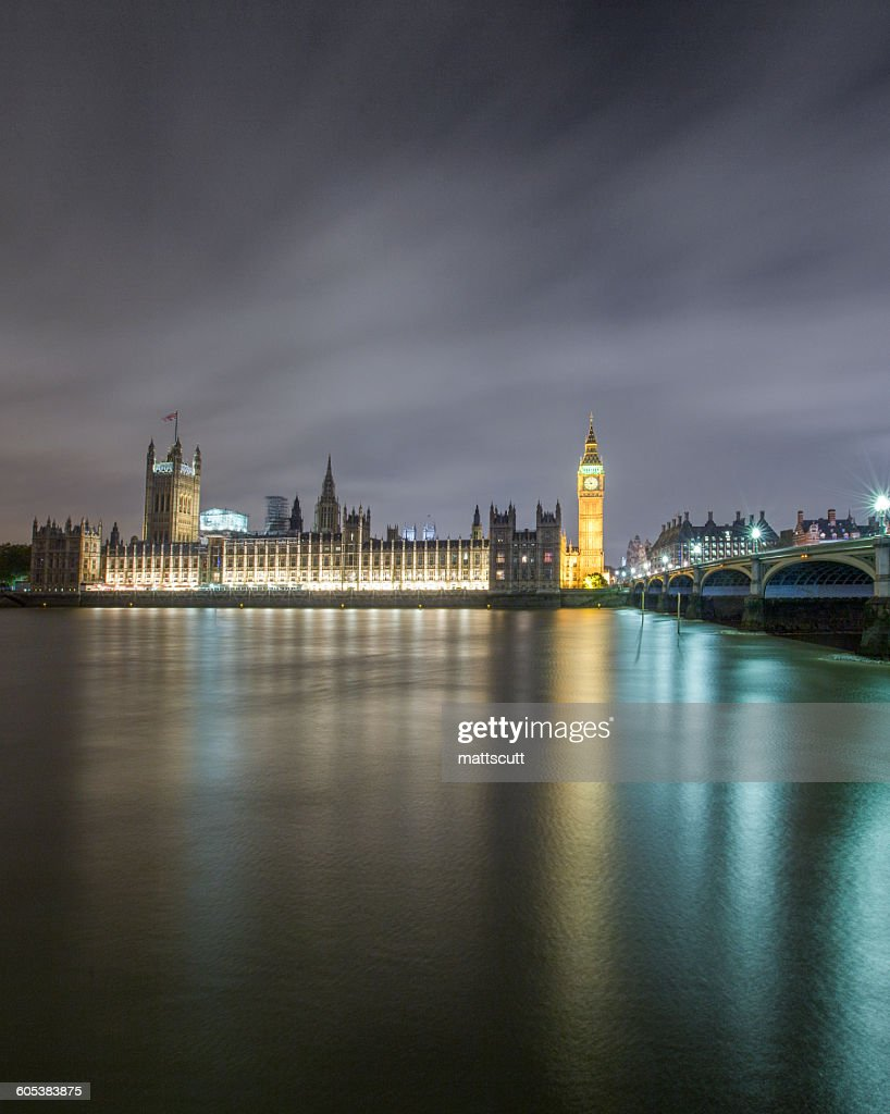Big Ben, Houses of Parliament and Westminster Bridge at night, London, England, UK : Stock Photo