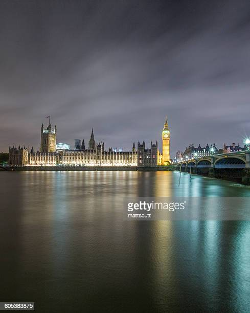 Big Ben, Houses of Parliament and Westminster Bridge at night, London, England, UK