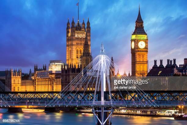 Big Ben, Houses of Parliament, Westminster, Golden Jubilee Bridge, London, England