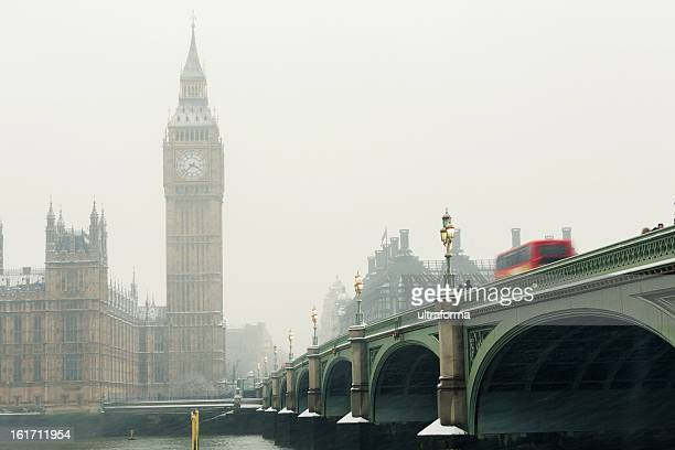 Big Ben in a snowstorm