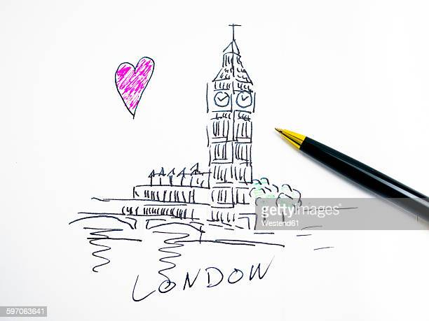 big ben in london, symbolical picture, drawn - clock tower stock pictures, royalty-free photos & images