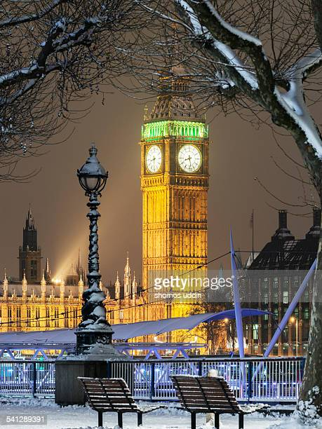 Big Ben in snow during Christmas period