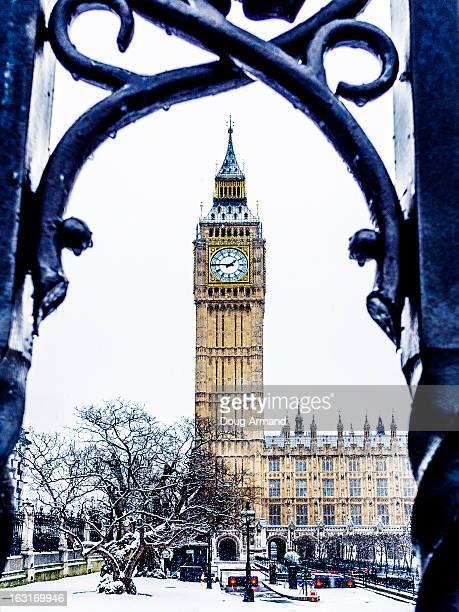 Big Ben in snowy London, UK
