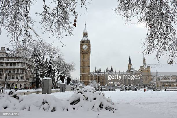 big ben in the snow - houses of parliament london stock photos and pictures