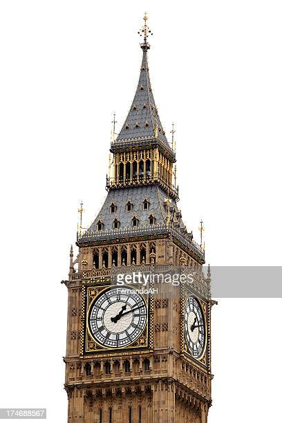 big ben isolated - big ben stockfoto's en -beelden