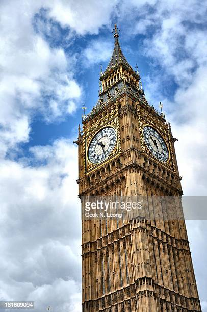 CONTENT] Big Ben one of London's most iconic landmarks Image of the clock tower reaching for the blue sky through the white clouds Taken on a cloudy...