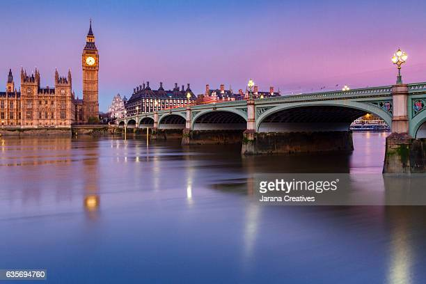 Big Ben, Palace of Westminster, Westminster bridge and thames river. London, United Kingdom.