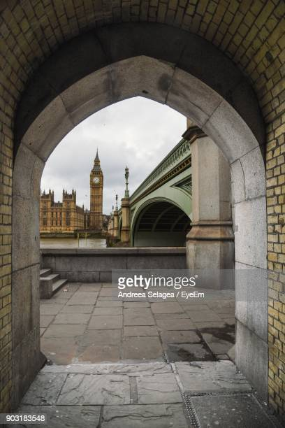 Big Ben Seen Through Arch Bridge In City