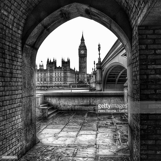 Big Ben Seen Through Arch In City