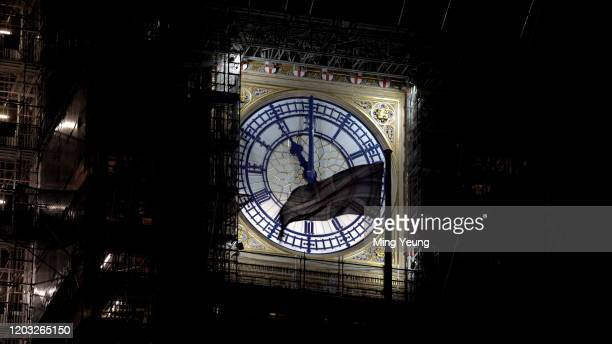 Big Ben signals the UK leaving the European Union during the Brexit Day Celebration Party hosted by Leave Means Leave at Parliament Square on January...