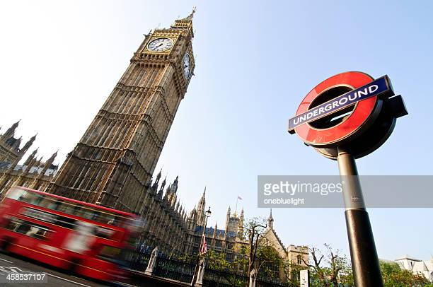 big ben, the roundel and double decker bus - underground sign stock pictures, royalty-free photos & images