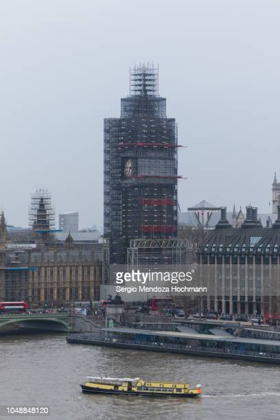 big ben under renovation, the houses of parliament, the palace of wesminster and the london skyline in 2018 - london, england - 2018 stock pictures, royalty-free photos & images