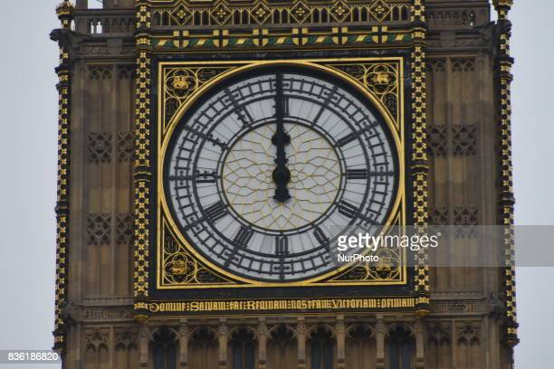 Big Ben's clock is seen while it bongs for the final time for four years at 12 noon in London on August 21 2017 Big Ben today sounded its final tolls...