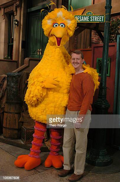 Big Bird and Jeopardy Champ Ken Jennings on set at Sesame Street's Studios Taping is part of Sesame Street's 36th Season which begins airing April 4...