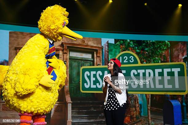 Big Bird and YouTuber Lilly Singh speak onstage during YouTube Brandcast presented by Google on May 5 2016 in New York City