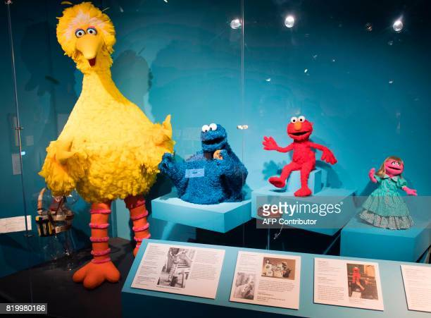 Big Bird , Cookie Monster , Elmo , and Prairie Dawn Muppet are displayed at The Jim Henson Exhibition July 18, 2017 at the Museum of the Moving Image...