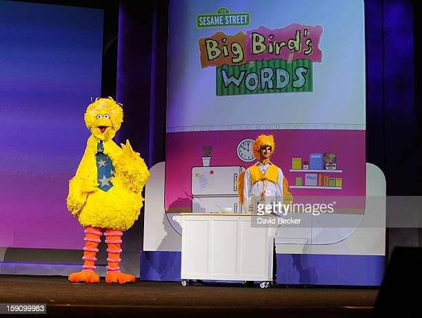 Big Bird of Sesame Street and Birdkateer Dave demonstrate an educational reading tool for children during a keynote address at the 2013 International...