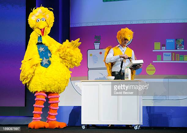 Big Bird of Sesame Street appears on stage during a keynote address at the 2013 International CES at The Venetian on January 7 2013 in Las Vegas...