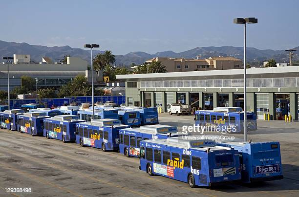 Big Blue Bus Terminal buses powered by Liquified Natural Gas Santa Monica Los Angeles California USA
