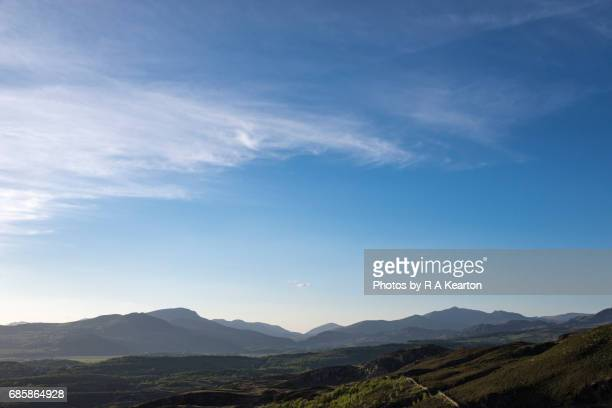 Big blue sky over the mountains of Snowdonia, North Wales