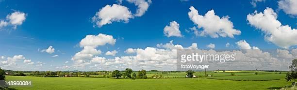 big céu azul de verão verde farms - panorâmica - fotografias e filmes do acervo