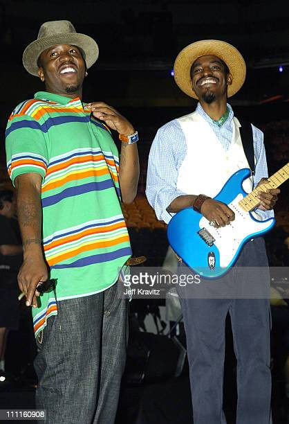 Big Boi and Andre 3000 of OutKast during 2004 MTV Video Music Awards Rehearsals Day 2 at American Airlines Arena in Miami Florida United States