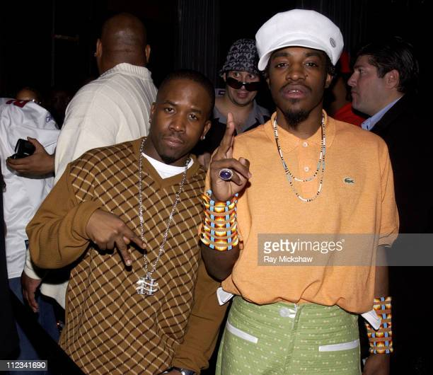 Big Boi and Andre 3000 of OutKast during 44th GRAMMY Awards Family Tree OutKast PreGrammy Party at Las Palmas Restaurant in Hollywood California...