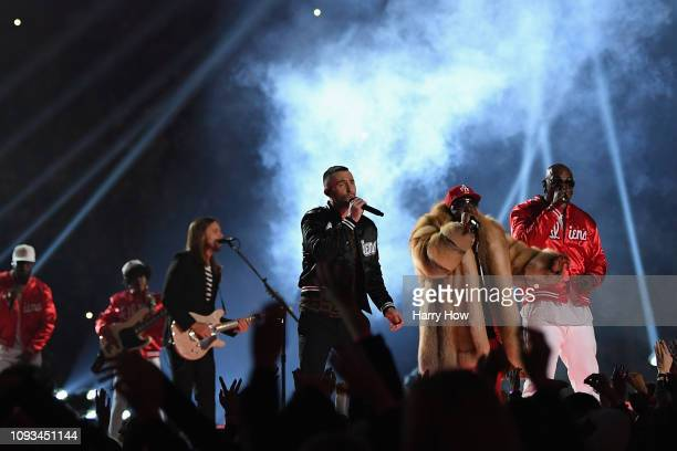 Big Boi and Travis Scott perform with Adam Levine and Maroon 5 during the Pepsi Super Bowl LIII Halftime Show at MercedesBenz Stadium on February 3...