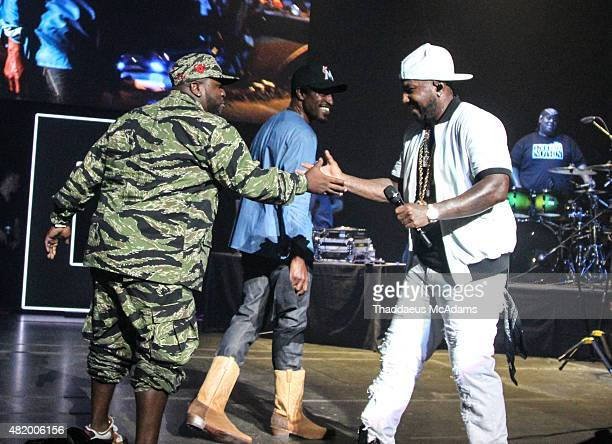 Big Boi Andre 3000 and Jeezy perform at The TM 101 10 year Anniversary Concert at The Fox Theater on July 25 2015 in Atlanta Georgia