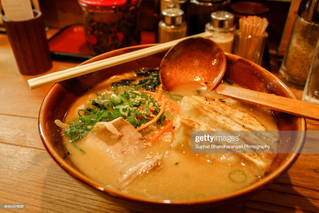 Big Bowl Gyoza Ramen with Big Spoon : Stock Photo