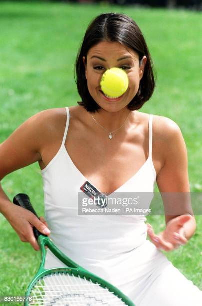 Big Breakfast presenter Melanie Sykes at Leicester Square Gardens London to announce that Nescafe will be the official coffee of the 1999 Wimbledon...