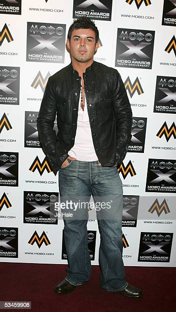 Big Brother 2005 winner Anthony Hutton poses in the press room at the Nominations and launch of the 2005 MOBO Awards at the Connaught Rooms on August...