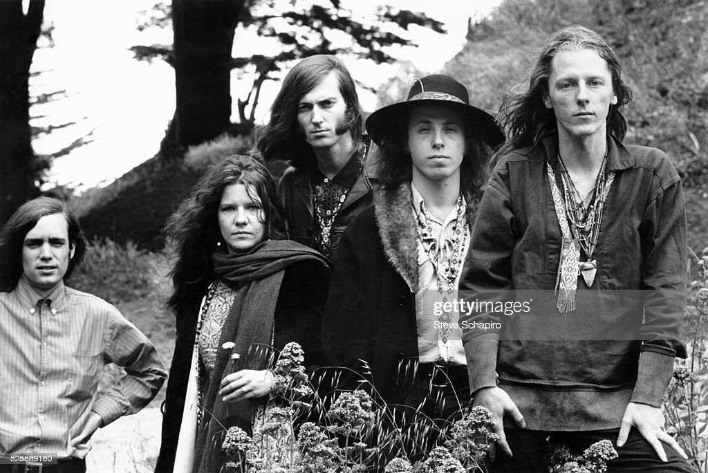 Big Brother and the Holding Company members from left: Peter Albin, Janis Joplin, Sam Andrew, David Getz and James Gurley, circa 1967.