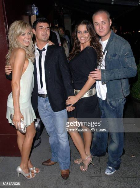 Big Brother contestants Orlaith McAllister Anthony Hutton Saskia HowardClarke and Maxwell Ward arrive at the Celebrity Love Island Reunion party...