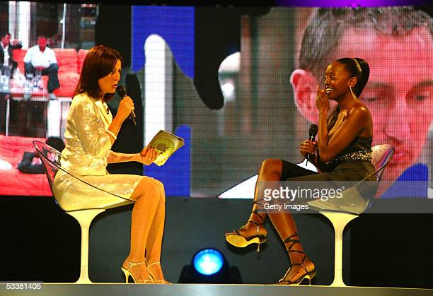 Big Brother housemate Makosi talks to Davina McCall, having become evicted from the Big Brother Reality TV house to take 3rd place during the Big...