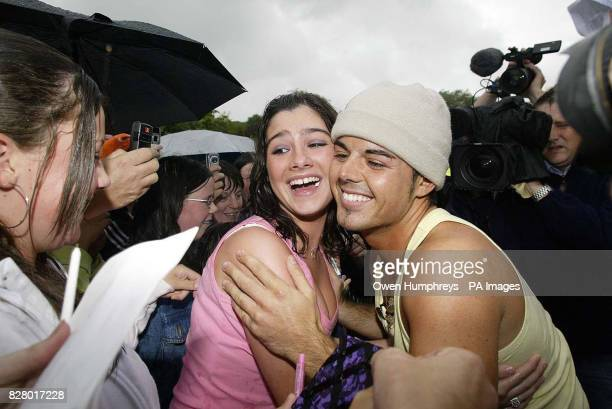 Big Brother winner Anthony Hutton is greeted by Cara Jay as he returns to his home town of Consett Co Durham