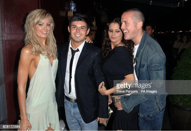 Big Brother's Orlaith McAllister Anthony Hutton Saskia HowardClarke and Maxwell Ward arrive at the Celebrity Love Island Reunion party at the Embassy...