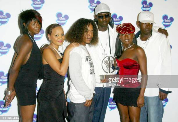Big Brovaz with their award for Best Group during The Disney Channel Kids Awards Awards Room September 20 2003 at Royal Albert Hall in London United...